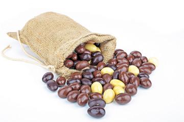 Bag full of little chocolate eggs
