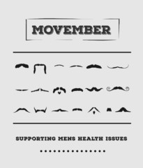 Movember advertisement vector with text and graphic