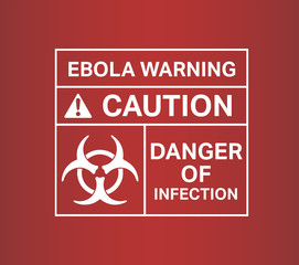 Ebola warming sign vector with text and symbols