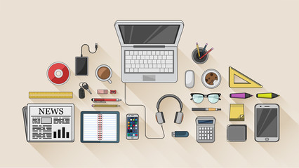 Desk with computer and other accessories vector