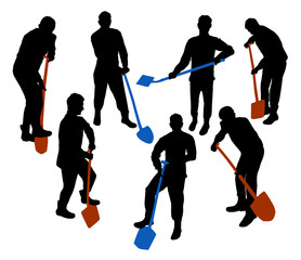 Silhouettes of a working man with spade and shovel