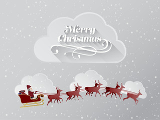 Christmas greeting message with flying santa