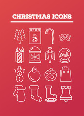 Christmas icons on red vector