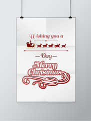 Christmas greeting message vector on poster