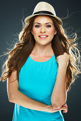 beautiful woman with long hair crossed arms portrait