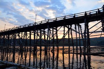 Saphan Mon wooden bridge Broken at Sunset time