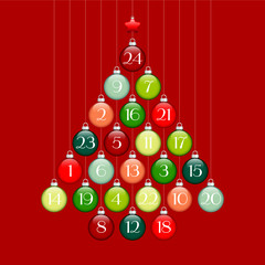 Advent Calendar Christmas Tree Balls Green/Red