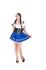 Pretty oktoberfest girl posing and smiling