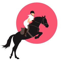 Horse and rider jumping on pink background. Vector EPS10