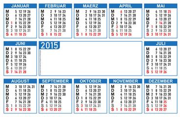 Kalender Visitenkformat 85 x 55 mm, 16   BL in  AI-Format