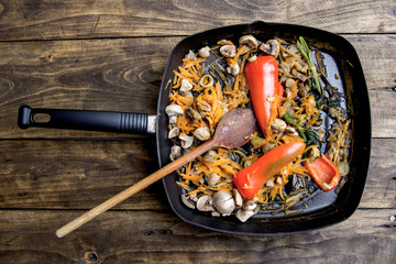 Pan fried vegetables and mushrooms
