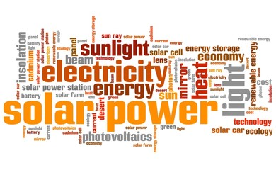 Solar energy - world cloud concept