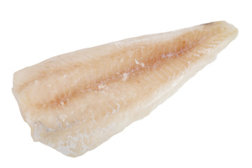 frozen cod fillets without skin isolated on white background
