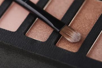 Make up brush on eye shadow palette