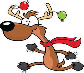 Cartoon Reindeer Running