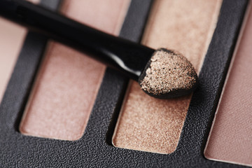 Make up brush on eye shadow palette