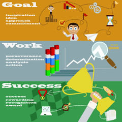 Set of simple icons, images, goals, work and success.