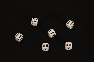 Playing dices on black, Good Luck concept