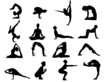 Set Of 16 Yoga Positions Black Vector Silhouettes Illustration