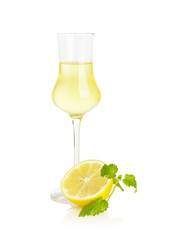 Limoncello Liqueur isolated