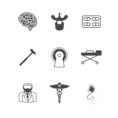 Black vector icons for neurology