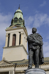 petar preradovic statue in zagreb and orthodox church