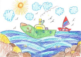Ship and Yacht at sea