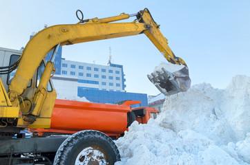 Handling of snow excavator