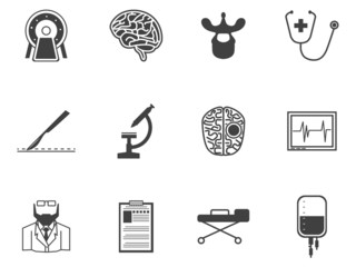 Black icons for neurosurgery