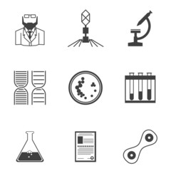 Black icons for bacteriology