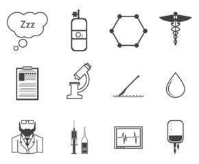 Black icons for anesthesiology