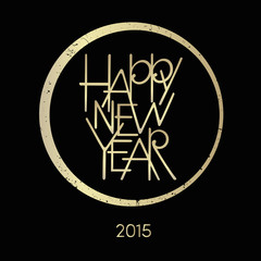 happy new year black and gold card