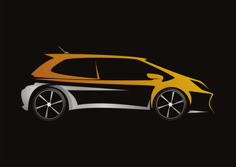 modern car automotive orange design vector