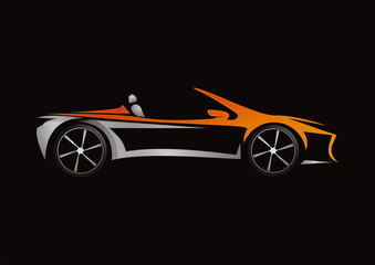 car automotive orange concept design vector