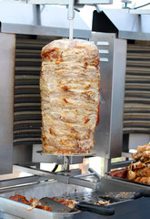 Kebab meat cooked in the special vertical oven