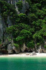 Small beach in the Halong Bay in Vietnam