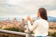 Beautiful fashion woman impressed panorama view Florence.