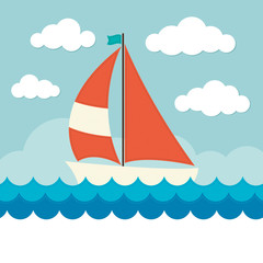Sailing Boat on Waves