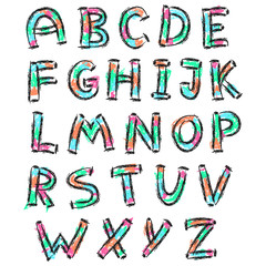 color english alphabet in doodle style