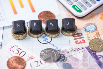 Finance news concept with punds in background