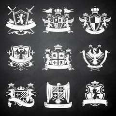 Heraldic chalkboard emblems