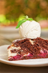 chocolate cake with jam ice cream