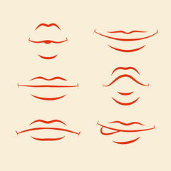 Lips emotions set