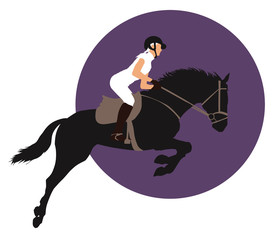 Horse and rider jumping on purple background. Vector EPS10