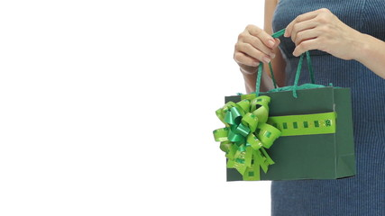Woman Green Gift Bag Copyspace