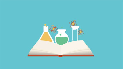 Open book with chemical icons, Animation Design, HD 1080