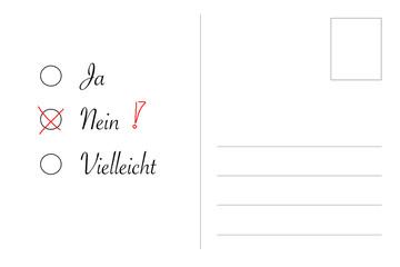 Postkarte mit Ja - Nein - Vielleicht, negative Entscheidung