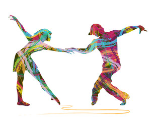 coppia di ballerini astratta composta da colori