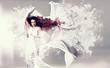woman with white splash-dress/fashion 06_3