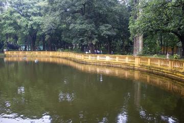 Ho Chi Min residence and garden pond in Hanoi, Vietnam